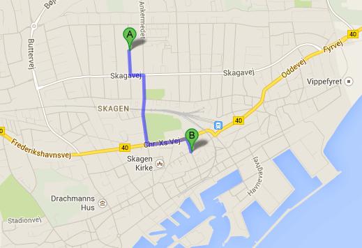 Her ses ruten fra Skagenferien til Skagen centrum og gågade. Distancen er 900 meter og er oplagt til en spadser- eller cykeltur.